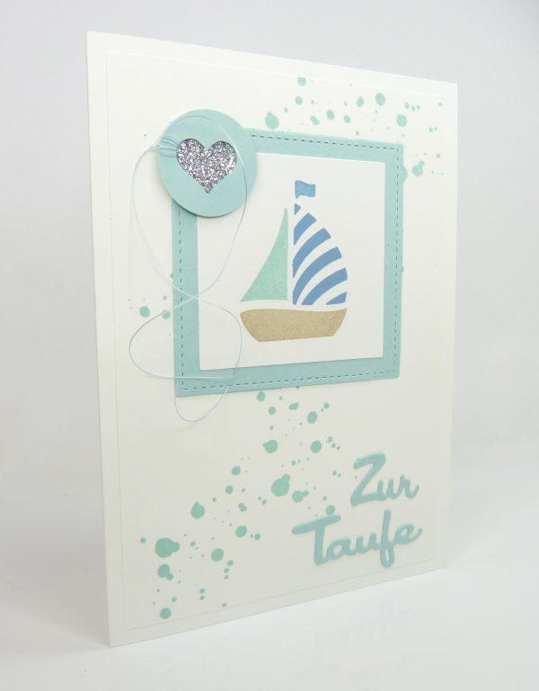 Taufe Karte.Glückwunschkarte Zur Taufe Für Jungen Blaues Schiff