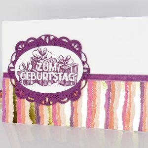 Geburtstagskarte Gestickte Grüße