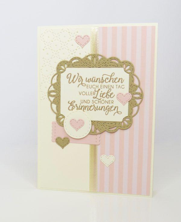 Schöne Erinnerung Puderrosa Hochzeitskarte