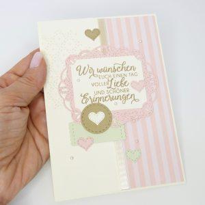 Schöne Erinnerungen Puderrosa mit Perlen Hochzeitskarte