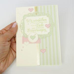 Schöne Erinnerungen Lindgrün mit Perlen Hochzeitskarte