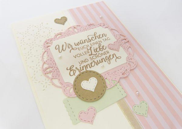 Schöne Erinnerung Puderrosa mit Perlen Hochzeitskarte
