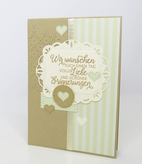 Schöne Erinnerungen Lindgrün Savanne Hochzeitskarte