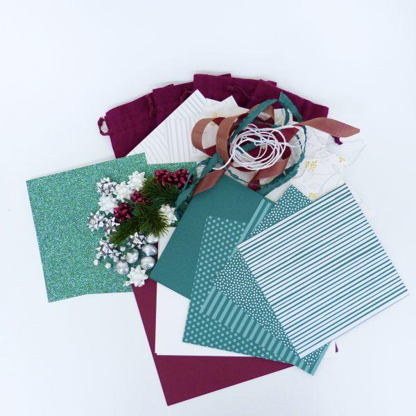 Materialpaket Weihnachten Merlotrot und Meeresgrün