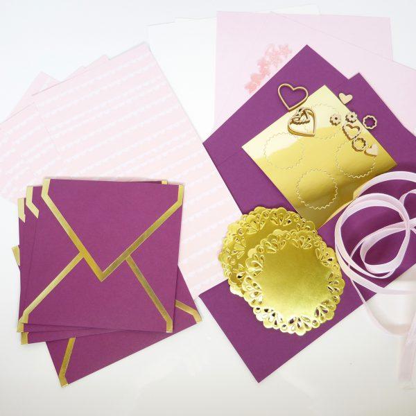 Kartenset Zartrosa Gold