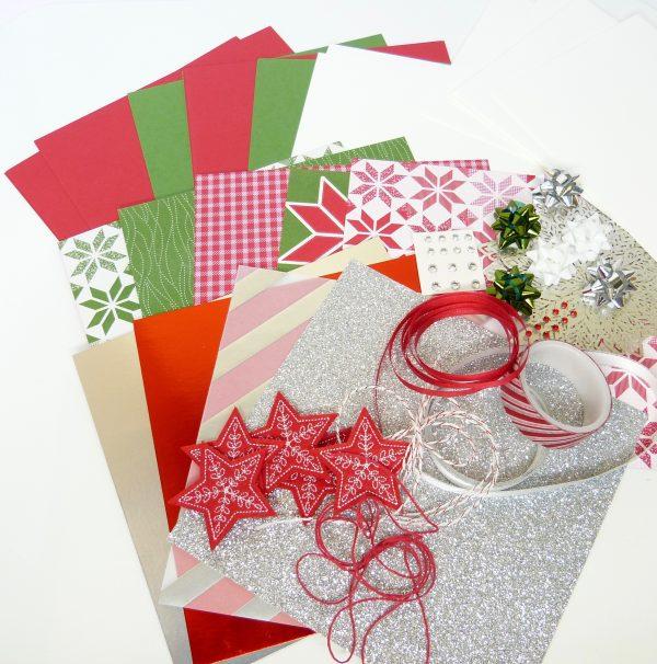 Weihnachtskarten Glutrot und Silber