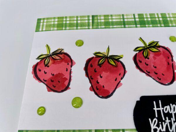 vier erdbeeren  happy birthday  stempelitishandmade shop